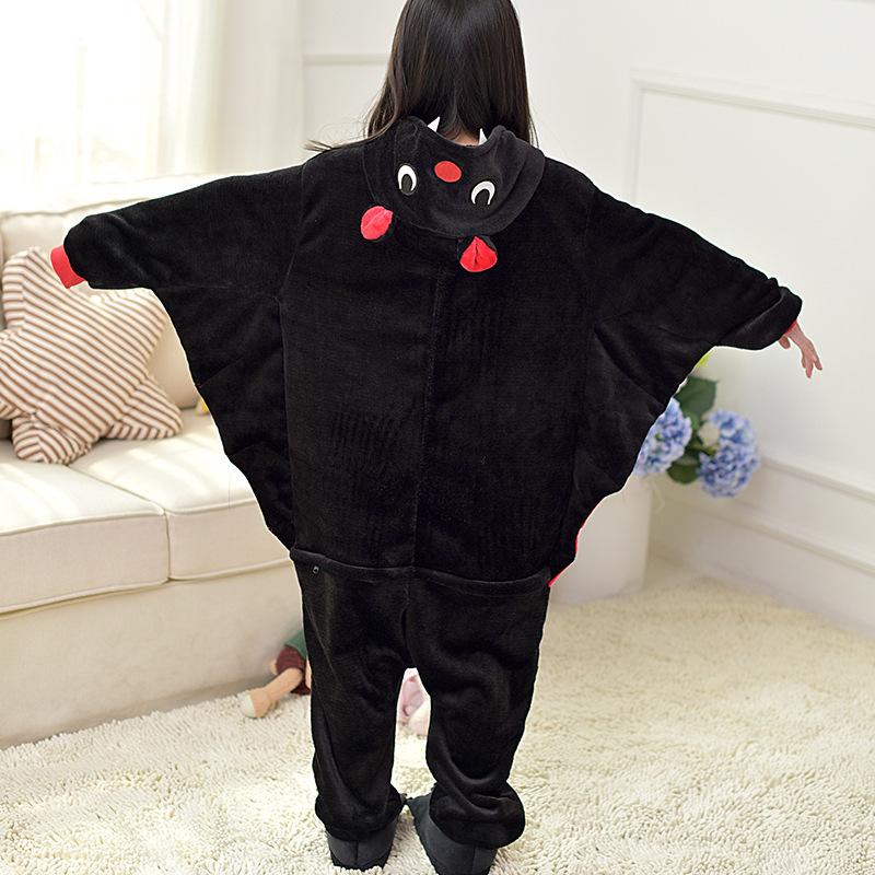 Kids Black Bat Onesie Kigurumi Pajamas Kids Animal Costumes for Unisex Children