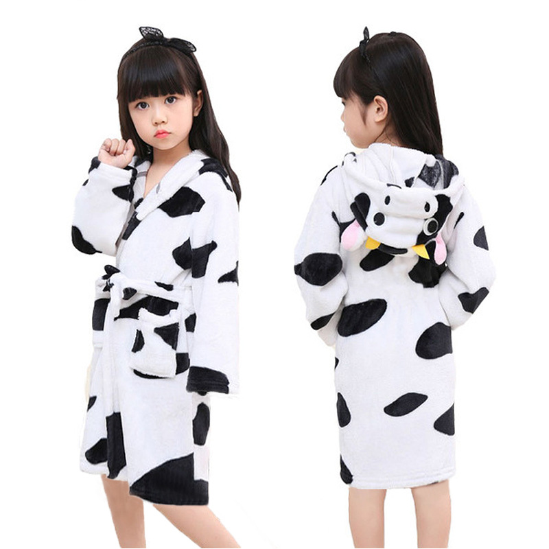 Kids Cow Soft Bathrobe Sleepwear Comfortable Loungewear