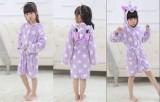 Kids Purple Unicorn Stars Soft Bathrobe Sleepwear Comfortable Loungewear