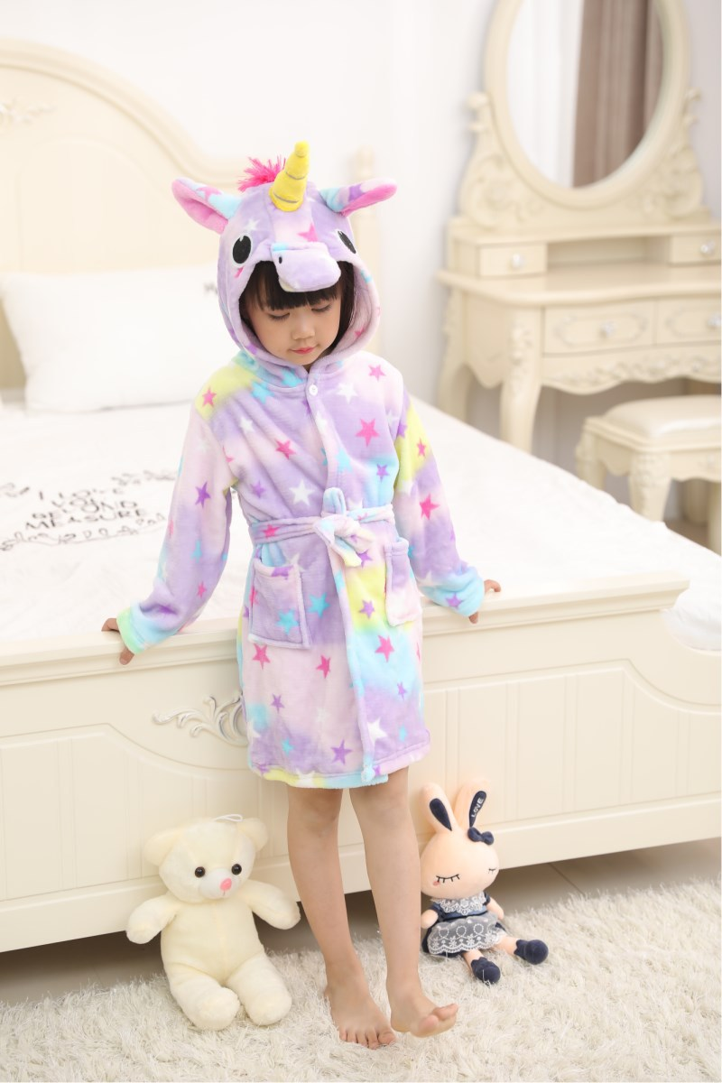 Kids Purple Stars Unicorn Soft Bathrobe Sleepwear Comfortable Loungewear