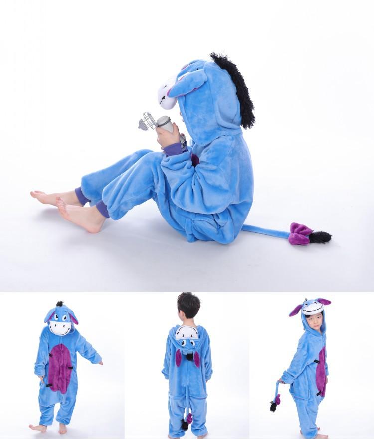 Kids Donkey Onesie Kigurumi Pajamas Kids Animal Costumes for Unisex Children