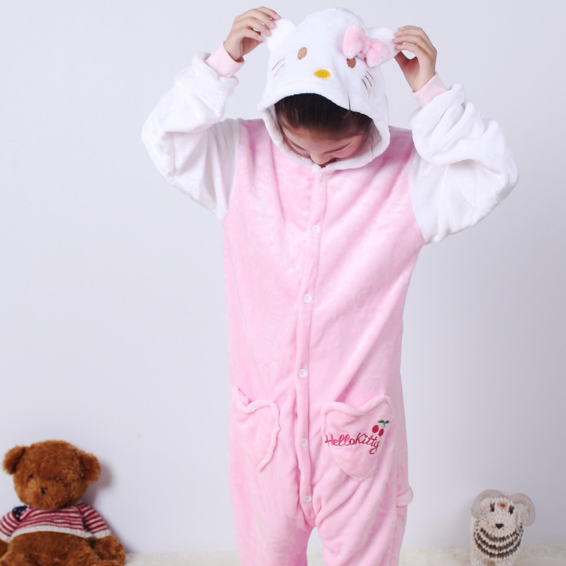 Kids Hello Kitty White Sleeve Onesie Kigurumi Pajamas Kids Animal Costumes for Unisex Children