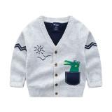 Toddler Boys Knit V Neck Cardigan Sweater Crocodile Pattern