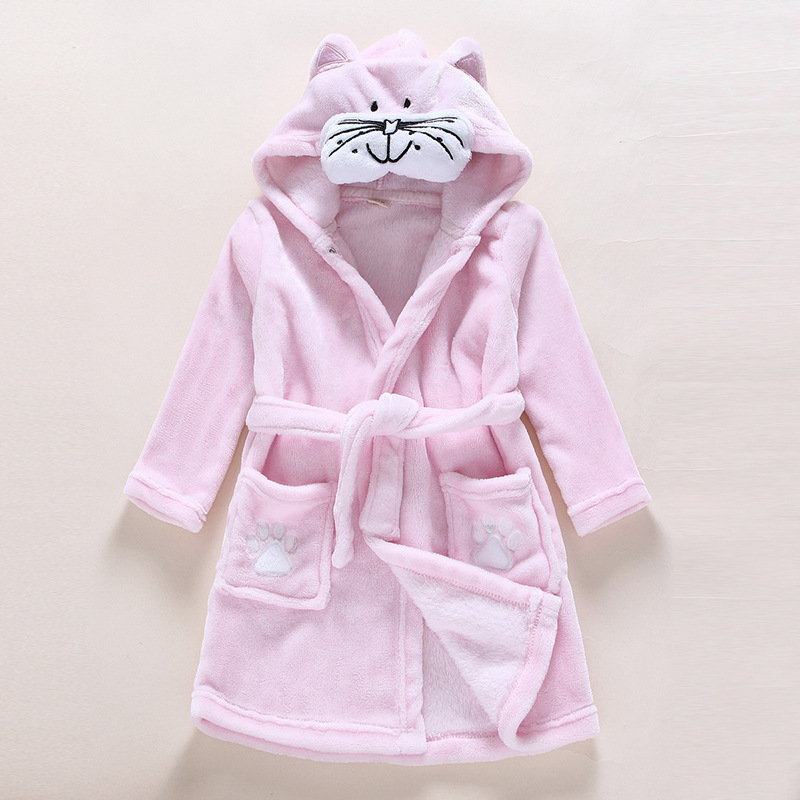 Kids Pink Cat Soft Bathrobe Sleepwear Comfortable Loungewear