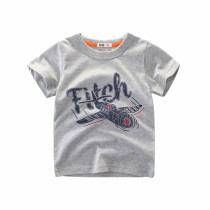 Grey Print Airplane and Letters Cotton Short T-shirt