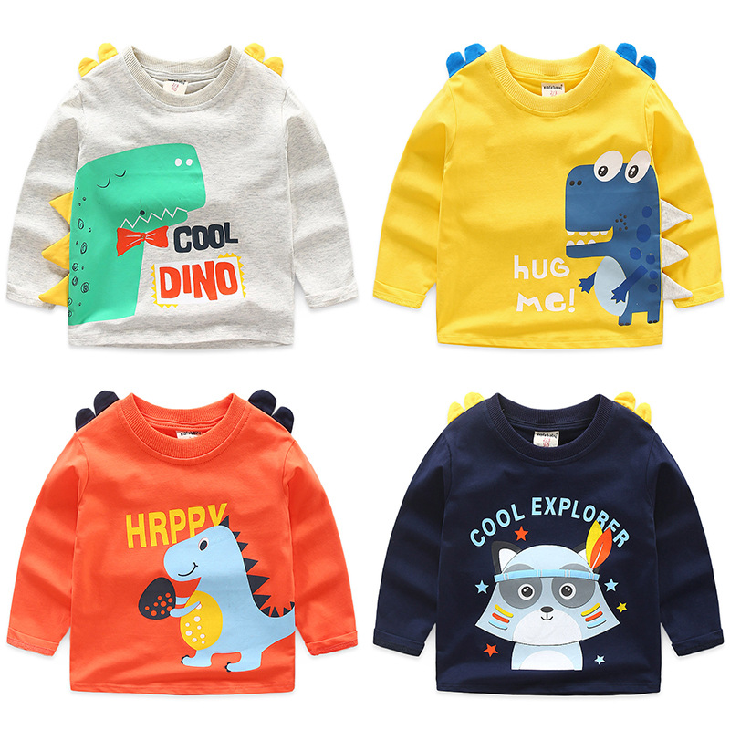 Toddler Boys 3D Print Cute Dinosaur Cartoon Cotton Long Sleeve T-shirt