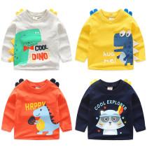 Toddler Boys 3D Print Cute Dinosaur Cartoon Cotton Long Sleeve T-shirt