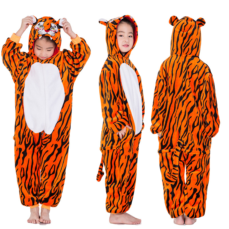 Kids Brown Tiger Onesie Kigurumi Pajamas Kids Animal Costumes for Unisex Children