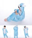 Kids Blue Rabbit Onesie Kigurumi Pajamas Kids Animal Costumes for Unisex Children