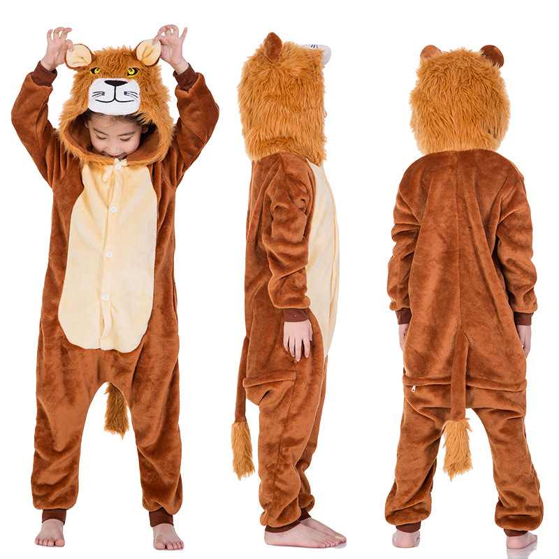 Kids Brown Lion Onesie Kigurumi Pajamas Kids Animal Costumes for Unisex Children