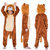 Kids Brown Lion Onesie Kigurumi Pajamas Kids Animal Costumes for Unisex Children