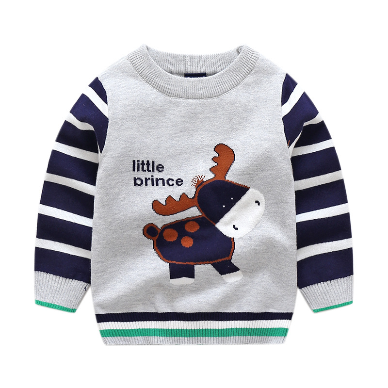 Toddler Boys Knit Pullover Sweater Cartoon Little Drince Pattern