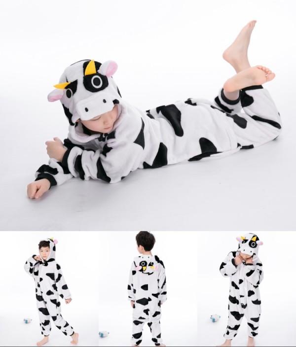Kids Cow Onesie Kigurumi Pajamas Kids Animal Costumes for Unisex Children