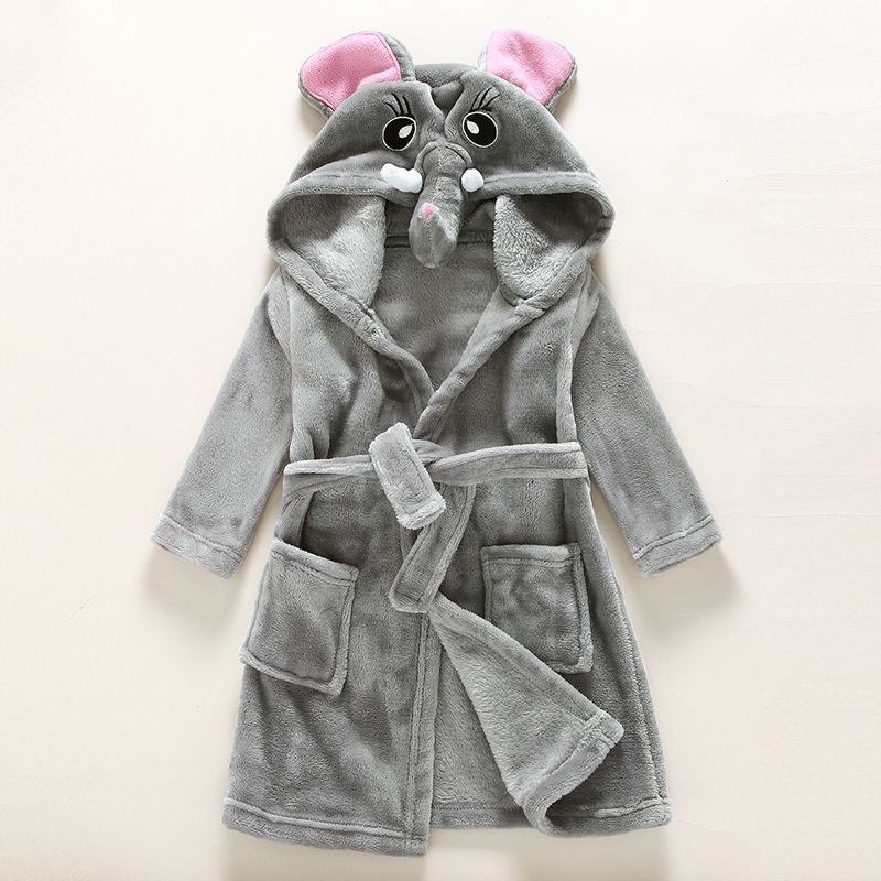 Kids Grey Elephant Soft Bathrobe Sleepwear Comfortable Loungewear