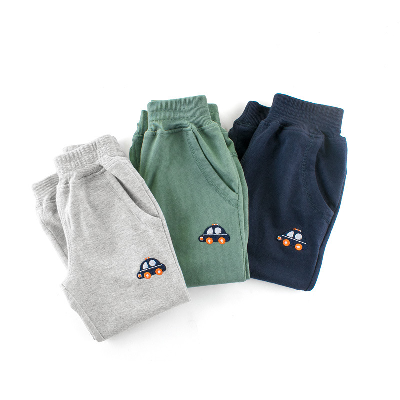 Grey Simple Toddler Boys Sweatpants Sport Jogger Print Car Pants
