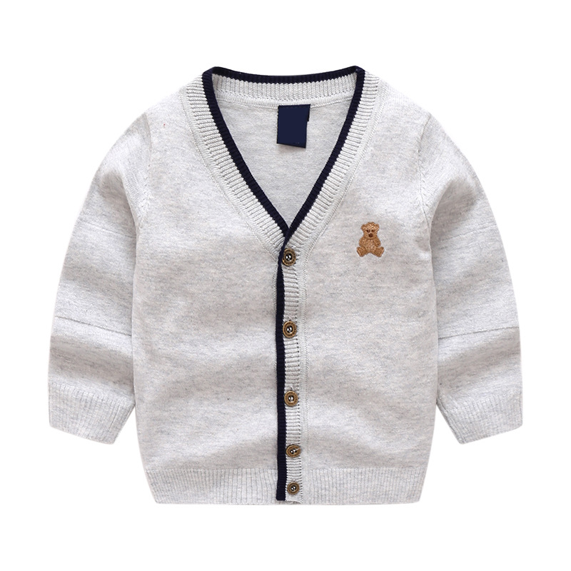 Toddler Boys Knit V Neck Cardigan Sweater Bear Pattern