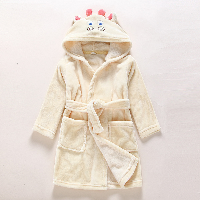 Kids Cattle Soft Bathrobe Sleepwear Comfortable Loungewear