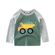 Print Machineshop Truck Grey and Green Color Matching Cotton Long Sleeve T-shirt