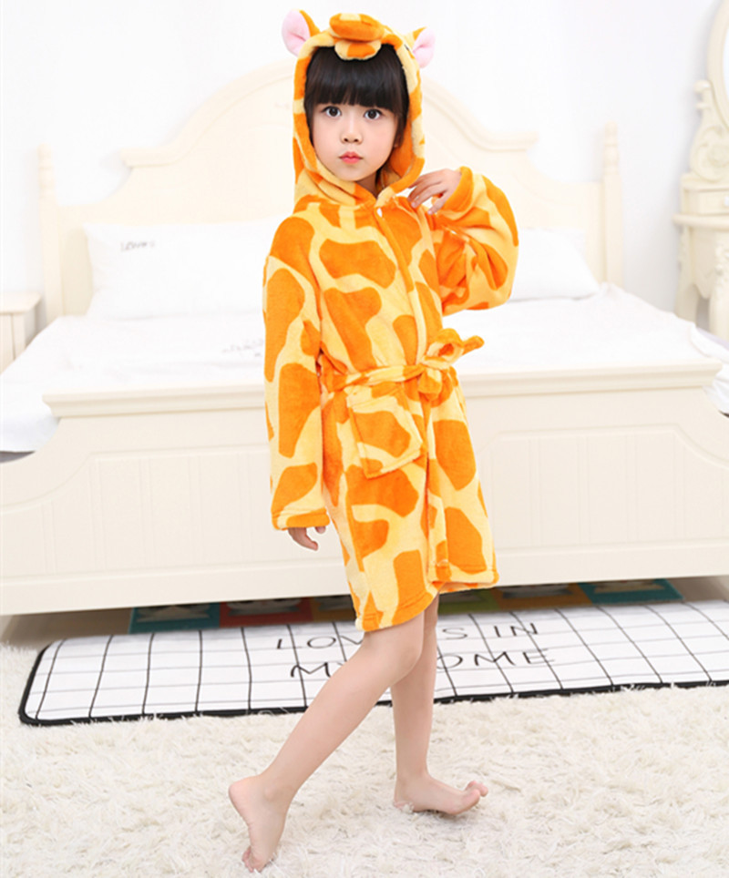Kids Giraffe Soft Bathrobe Sleepwear Comfortable Loungewear