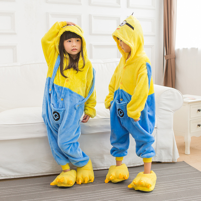Kids Minions Onesie Kigurumi Pajamas Kids Animal Costumes for Unisex Children