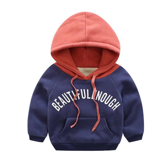 Fleece Toddler Boys Color Matching Hoodie Print Letters Sweatshirts