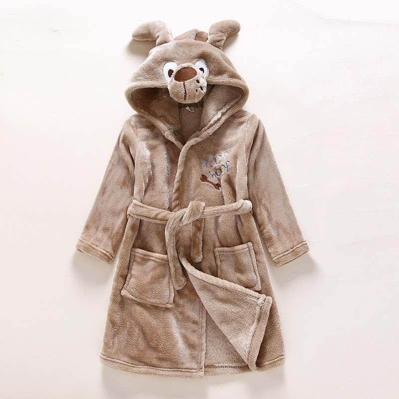 Kids Brown Dog Soft Bathrobe Sleepwear Comfortable Loungewear
