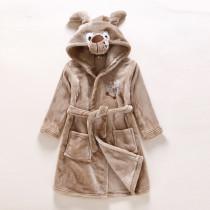 Kids Brown Dog Soft Bathrobe Sleepwear Comfortable Loungewear