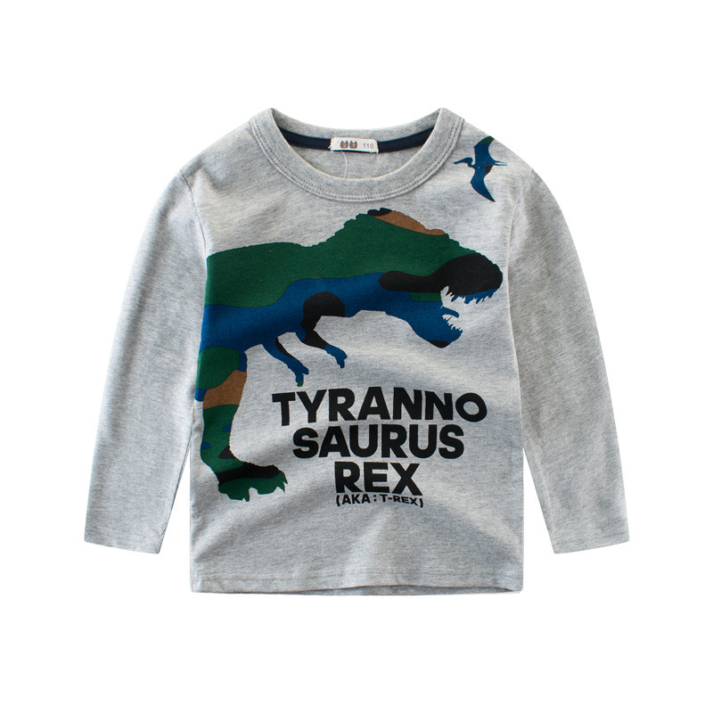 Print Dinosaur Cotton Long Sleeve T-shirt