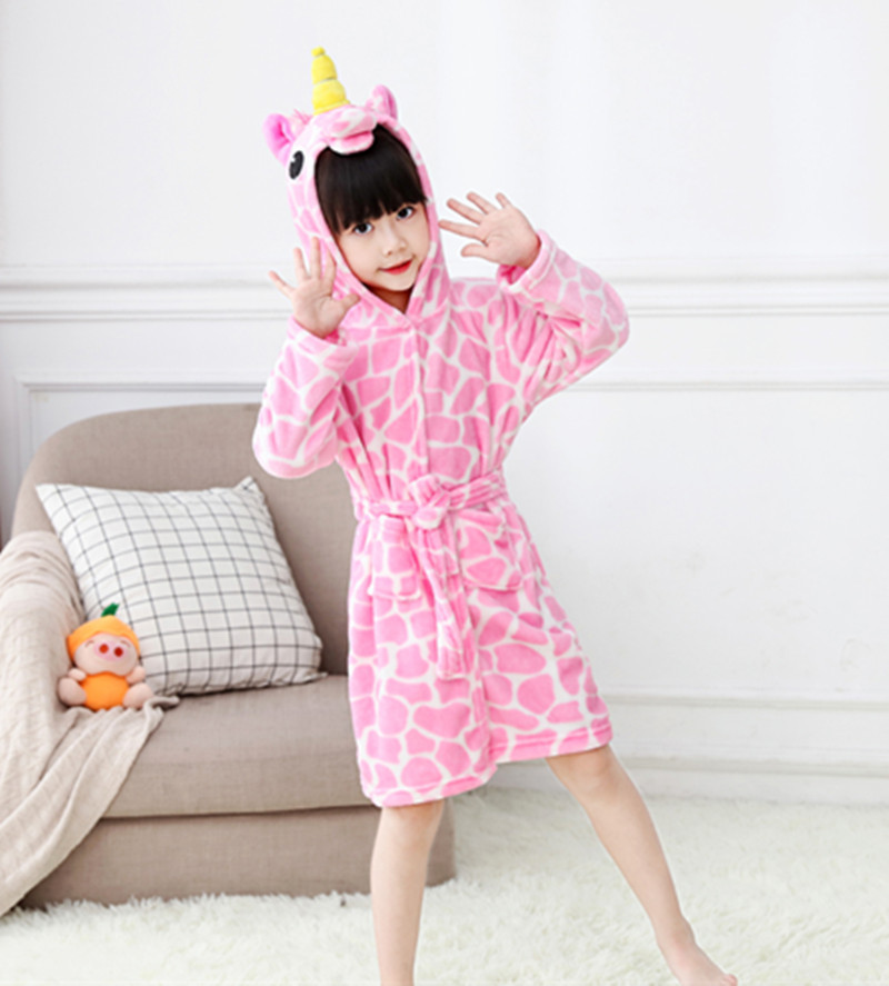 Kids Pink Print Yellow Horn Unicorn Soft Bathrobe Sleepwear Comfortable Loungewear