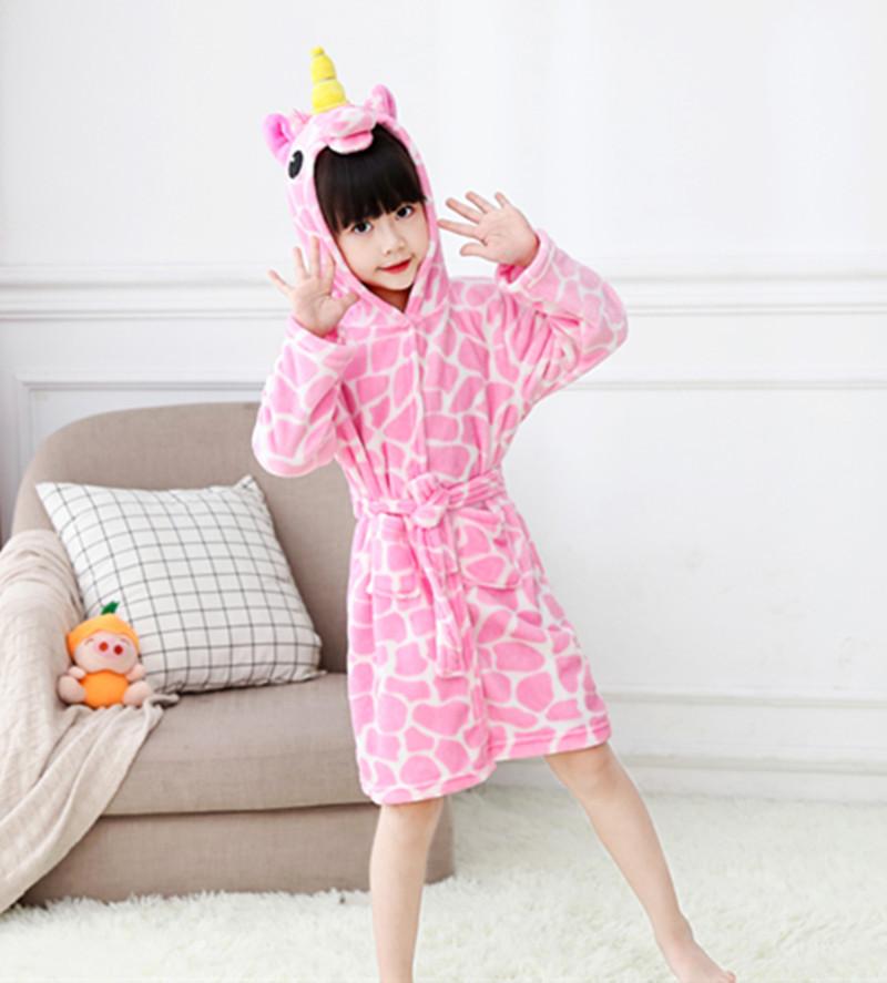 Kids Pink Print Yellow Horn Unicorn Soft Bathrobe Sleepwear Comfortable Loungewear