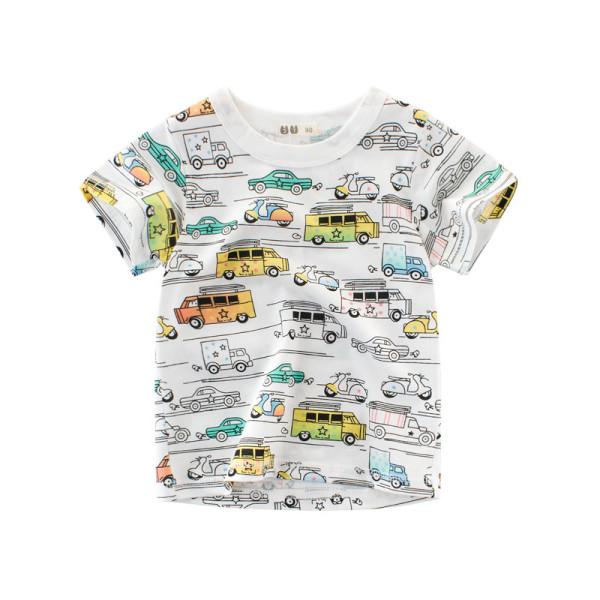 Print Cars Cotton Short T-shirt