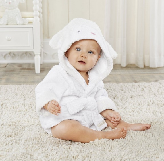 Baby White Sheep Bathrobe Tracksuit Thicken Cute Cartoon Animal Hooded Sleepwear