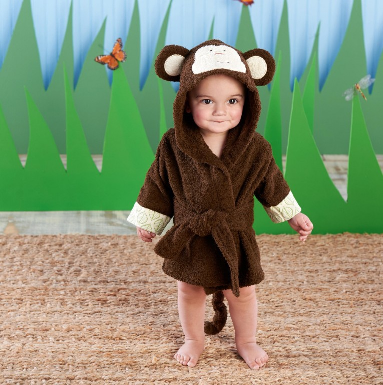 Baby Brown Monkey Bathrobe Tracksuit Thicken Cute Cartoon Animal Hooded Sleepwear