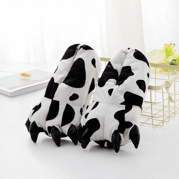 Cozy Cow Flannel House Monster Slippers Halloween Animal Costume Paw Claw Shoes