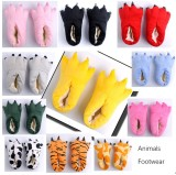Cozy Yellow Flannel House Monster Slippers Halloween Animal Costume Paw Claw Shoes