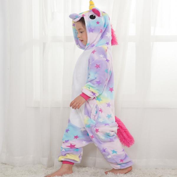 Kids Colorful Star Unicorn Onesie Kigurumi Pajamas Kids Animal Costumes for Unisex Children