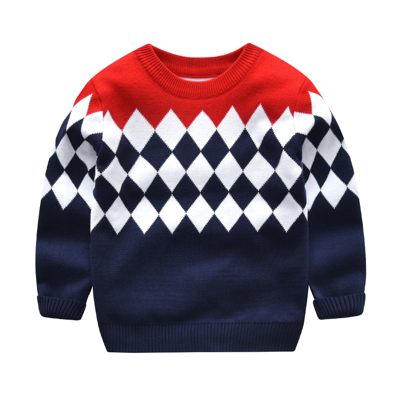 Toddler Boy Knit Pullover Upset to Keep Warm Diamond Pattern Sweater