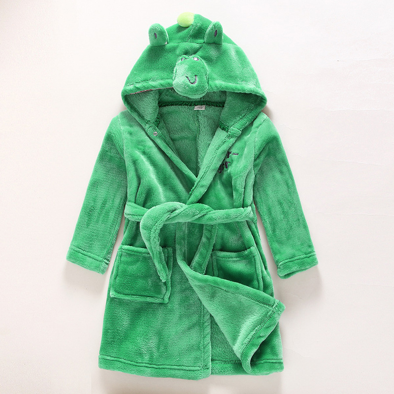 Kids Green Frog Soft Bathrobe Sleepwear Comfortable Loungewear