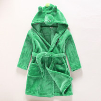 Kids Green Frog Soft Bathrobe Sleepwear Comfortable Loungewear