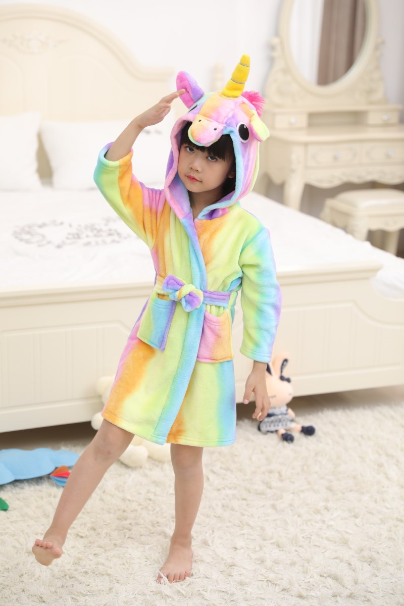 Kids Rainbow Unicorn Soft Bathrobe Sleepwear Comfortable Loungewear