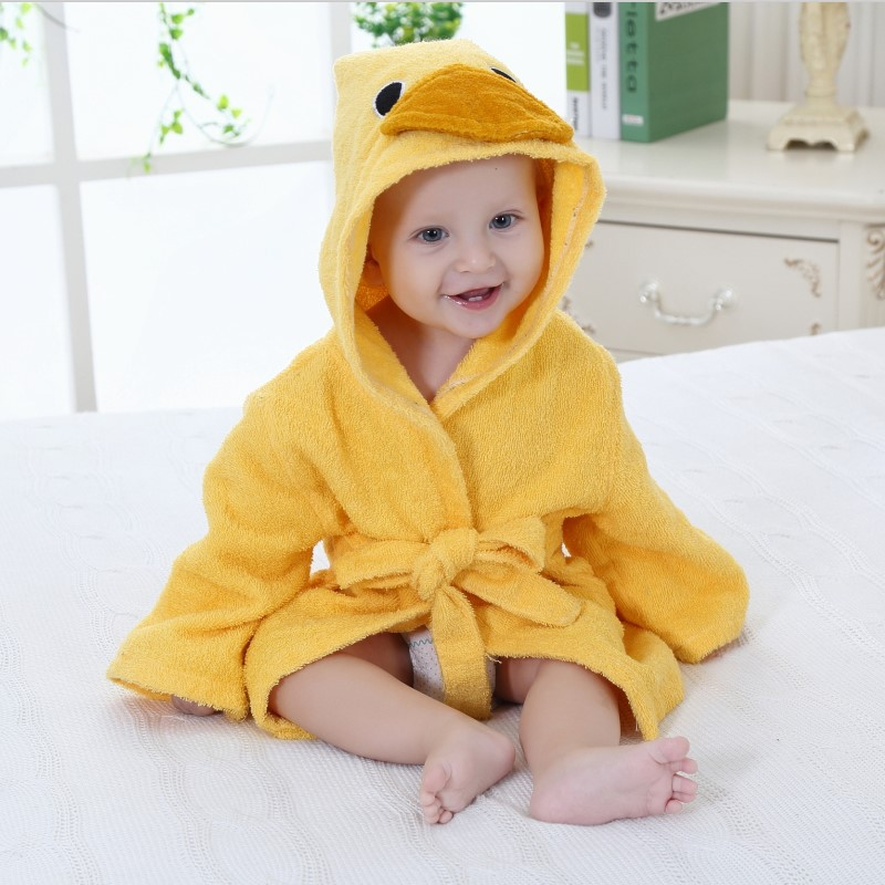 Baby Yellow Duck Bathrobe Tracksuit Thicken Cute Cartoon Animal Hooded Sleepwear