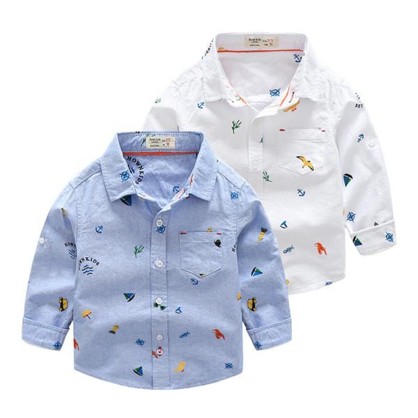 Toddler Boys White Print Cotton Long Sleeve Shirt