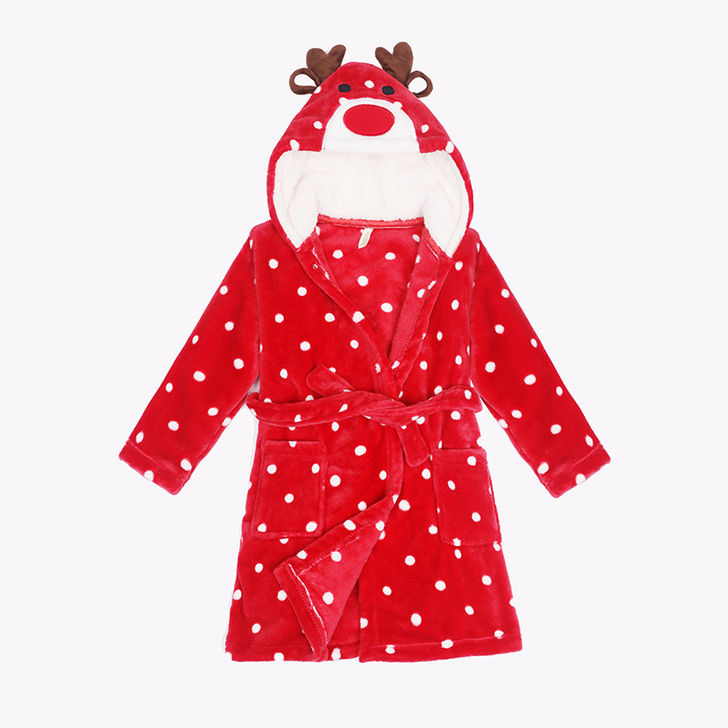 Kids Christmas Red Deer Soft Bathrobe Sleepwear Comfortable Loungewear