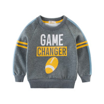 Grey Thicken Fleece Slogan Print Color Matching Sweatershirt