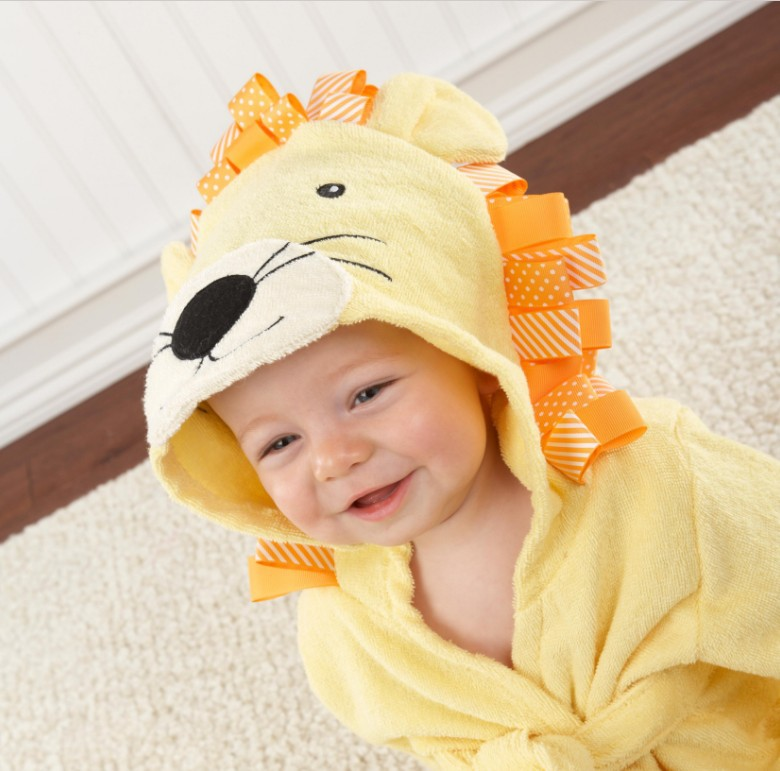 Baby Yellow Lion Bathrobe Tracksuit Thicken Cute Cartoon Animal Hooded Sleepwear