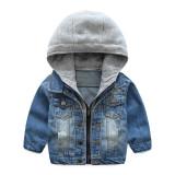 Toddler Boys Blue Denim Hot Sale Jacket Hoodie Outerwear