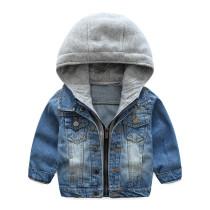 Toddler Boys Blue Denim Jacket Hoodie Outerwear