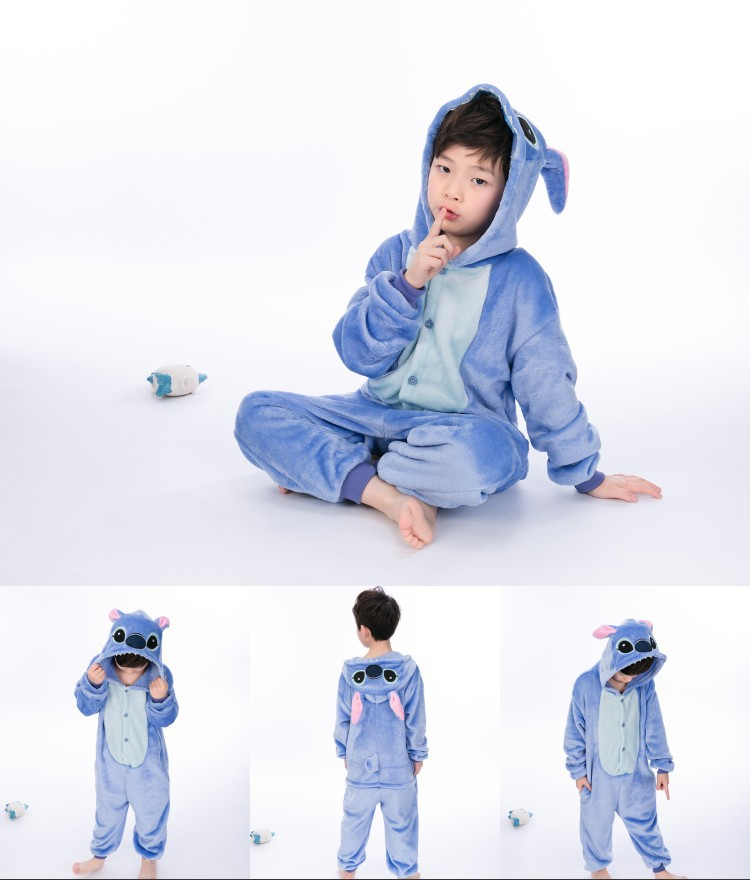 Kids Stitch Onesie Kigurumi Pajamas Kids Animal Costumes for Unisex Children