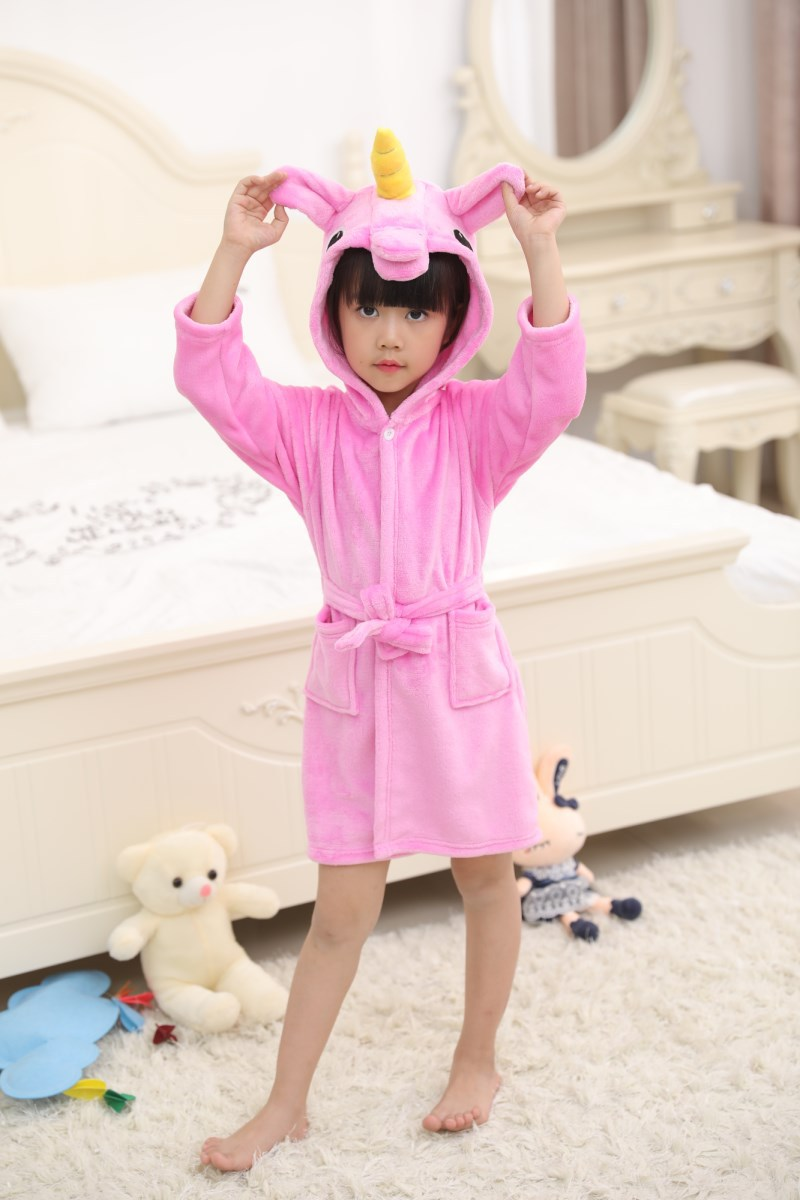 Kids Yellow Horn Unicorn Soft Bathrobe Sleepwear Comfortable Loungewear