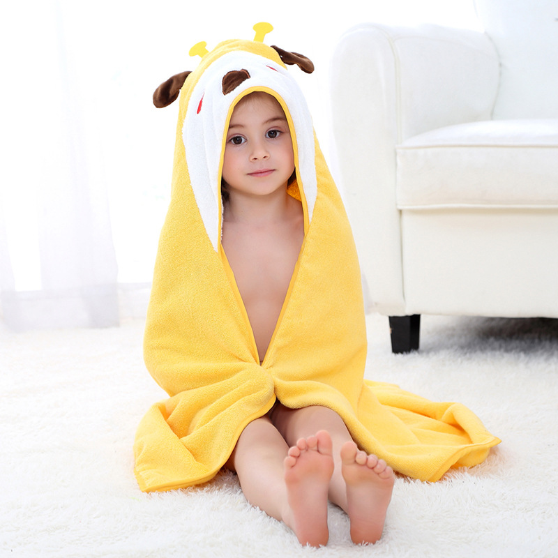 Baby Yellow Giraffe Face Hooded Bathrobe Towel Bathrobe Cloak Size 28 *55